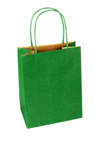 uncluttered: Plain, empty, green gift bag isolated on white Stock Photo