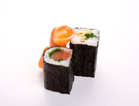 2 rolls of sushi with fish. Isolated odject on a white background