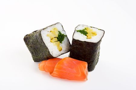 2 rolls of sushi with fish on a white background