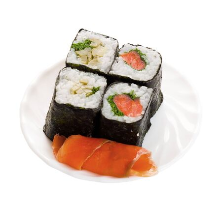 4 sushi on plate with fish isolated object on a white