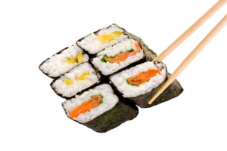 6 rolls of sushi with chopsticks isolated on a white background