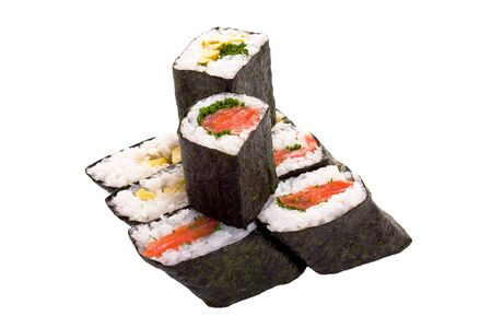 8 rolls of sushi isolated object on a white background