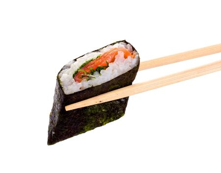 Sushi and chopsticks on white.Iisolated object