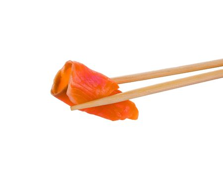 Sushi with chopsticks shot on white. Isolated objecy on a white background