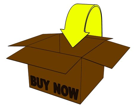 3d buy now box on a white background. Isolated object for internet shop