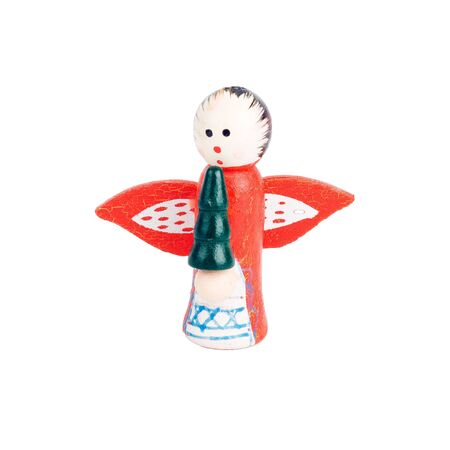 Wood angel with wings. Christmas toy