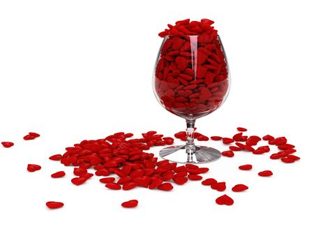 3d image of red hearts in wineglass Фото со стока