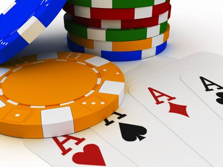3d illustration of a poker chip stack with four aces
