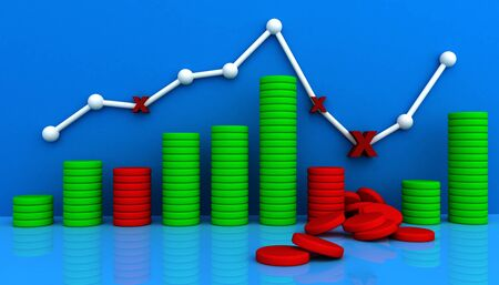 3D business graph with up and fall photo