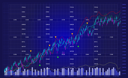 Business chart with line graph and stock numbers on dark blue background (vector)