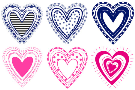 Hearts set, isolated on white background, vector illustration Иллюстрация