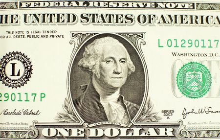 Close-up of George Washington on a one dollar bill photo