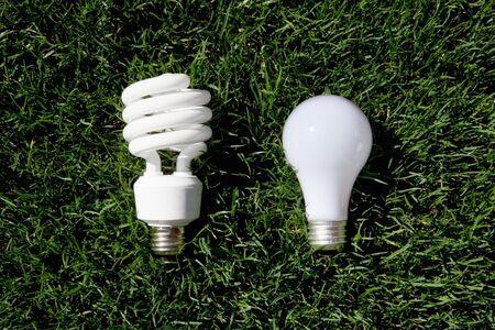 Energy Saving Light Bulb and Incandescent Bulb laying on green grass