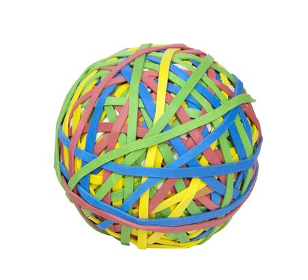 Multi-colored ball of rubber bands Stock Photo