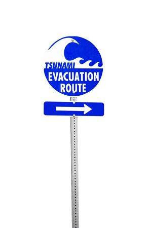 Sign pointing towards the tsunami evacuation route