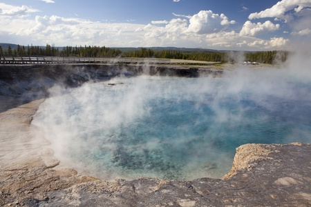 Excelsior geyser pool and boardwalk at yellowstone national park Stock Photo