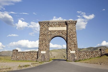 Roosevelt Arch is the north entrance to Yellowstone National Park Editorial