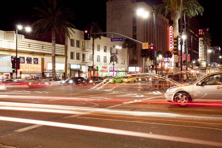 north hollywood: Corner of Hollywood and Highland Boulevard at night