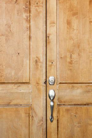 Wooden front door of home in Phoenix, Arizona Stock Photo