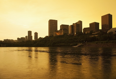 Edmonton, Alberta, Canada, skyline silhoutte at dusk