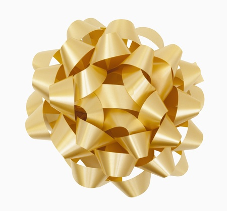 Gold Christmas Bow Stock Photo