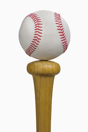 Baseball balancing on bat, isolated on white, includes clipping path