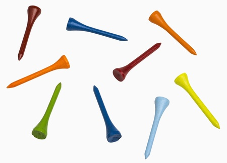 Colorful golf tees isolated on white, includes clipping paths