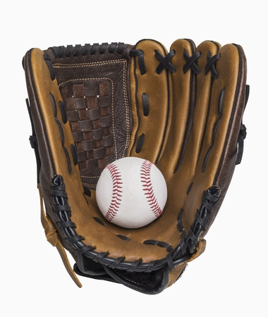 Baseball and baseball glove isolated on white, includes clipping path Archivio Fotografico