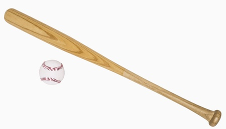 Baseball bat and baseball isolated on white, includes clipping paths