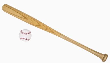 murcielago: Bate de béisbol y béisbol aislado en blanco, incluye trazados de recorte Foto de archivo