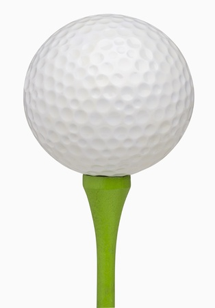 Golfball on tee, isolated on white, includes clipping path Stock Photo