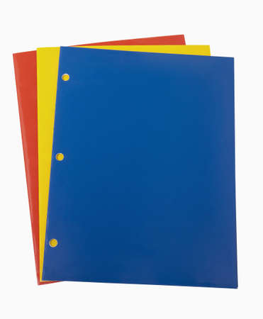 Red, Yellow and Blue School Folders, includes clipping path