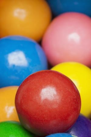bubble gum: Close-up of multi-colored gumballs, studio shot