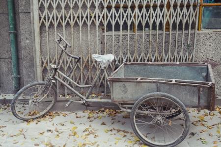 Weathered Bike Parked on sidewalk in Beijing, China Stock Photo - 20189663