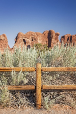 Wooden Fence in Desert, Arches National Park, Moab, Utah Stock Photo
