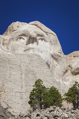 mount jefferson: Face of Thomas Jefferson, Mount Rushmore National Memorial, Black Hills, South Dakota
