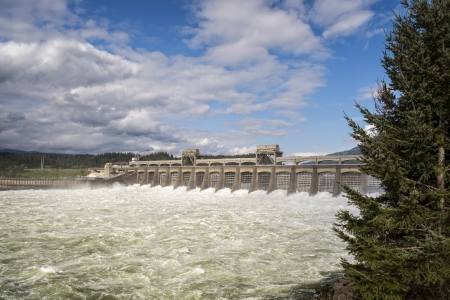 Water from the Columbia River rush through the locks at Bonneville Dam, Oregon