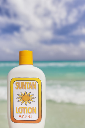 roo: Suntan lotion with caribbean ocean in background, Cancun, Yucatan Peninsula, Quintana Roo, Mexico       We made suntan lotion label