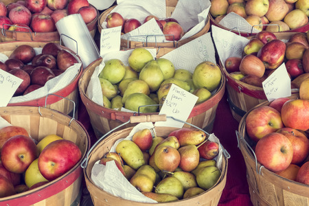 roadside stand: Apples and pears for sale at roadside stand, Oregon