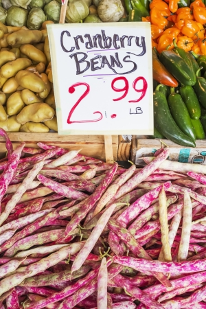 pike place market sign: Cranberry Beans in farmers market, Seattle, Washington
