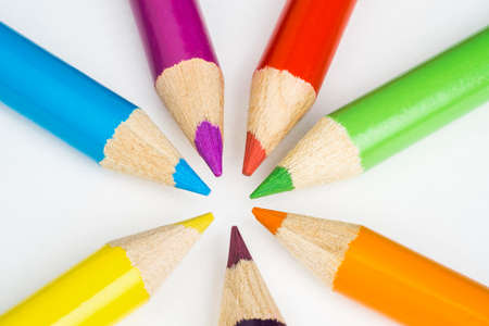 inward: Colored pencils with tips pointing inward