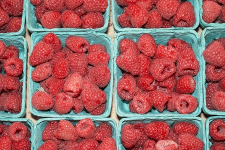 Raspberries in farmers market, Seattle, Washington photo