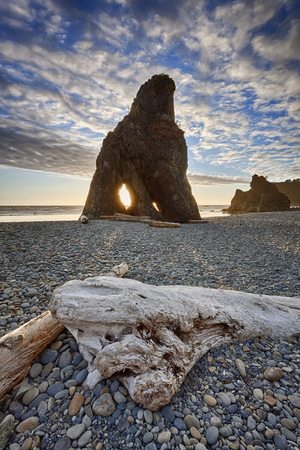 Sea stack and driftwood at Ruby Beach, Olympic Peninsula, Olympic National Park, Washington photo