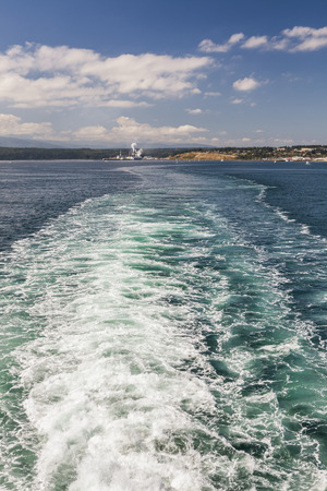puget: Wake left by ferry boat in Puget Sound, Washington
