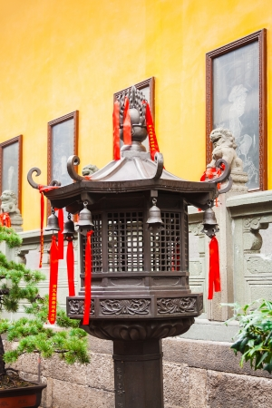 jade buddha temple: Bronze lantern in front of the Jade Buddha Temple, Shanghai, China