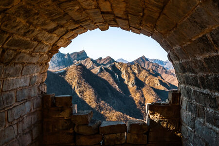 erode: Original tunnel in the great wall of China, Jinshanling