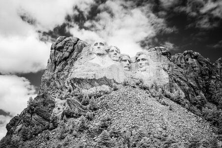 Black and white Mount Rushmore National Memorial