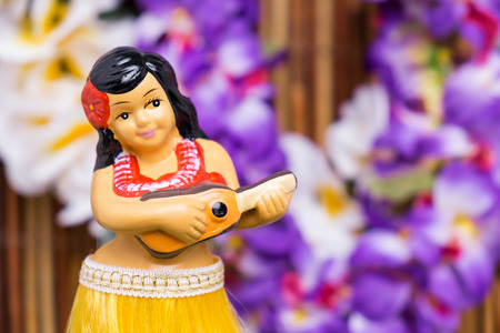 Tropical setting for a Hula girl doll