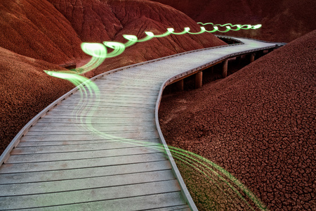 Path with light painting in the Painted Hills Unit of the John Day Fossil Beds National Monument in Oregon Stock Photo