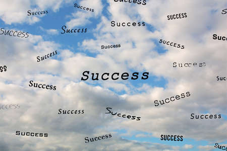 Different versions of the word Success form a pattern on a cloud filled sky